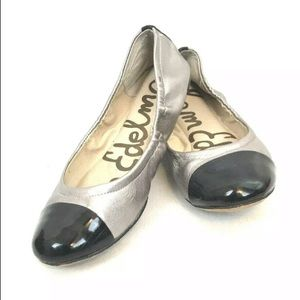 Sam Edelman Baxton Gold Black Cap Ballet Flats